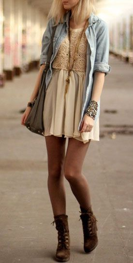 The dress is way too short, but I love the crochet top and the chambray shirt