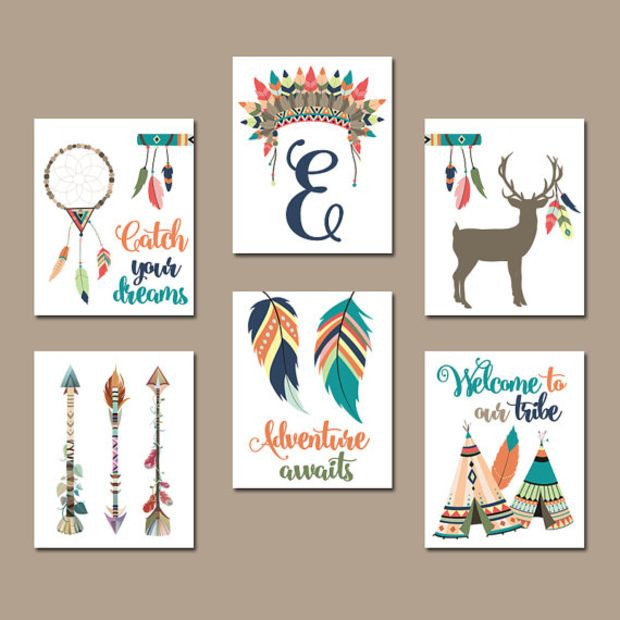 TRIBAL Nursery Wall Art, Canvas or Prints, Tee Pee Arrows Deer, Dream Catcher, Indian Feathers, Tribe Set of 6 Woodland Baby Decor