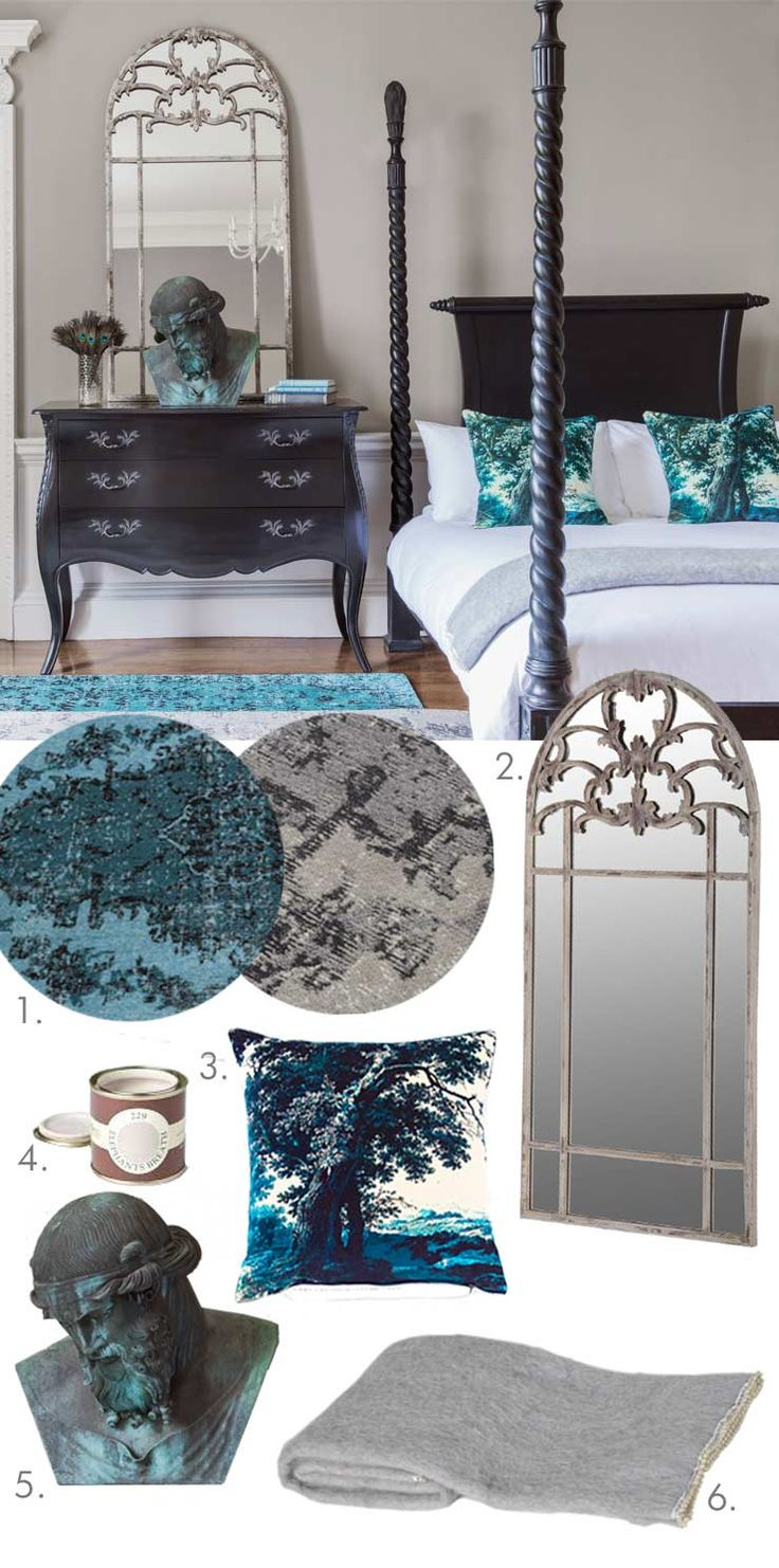 The French Bedroom Company Blog, Get the Look: French Grey. Behind the scenes stylists tips on getting our look from our Sassy Boo Majestic Black Four Poster bed photoshoot, Black painted bedroom furniture in a blue and grey bedroom. Masculine style, french furniture, home, interior design. Collage and moodboard