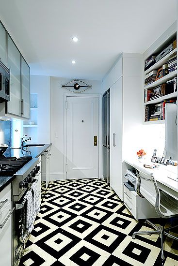 Diamond pattern black and white tile floor in a small new for Black and white galley kitchen