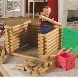 Use 15 pool noodles cut in half to make giant Lincoln logs, cut notches with scissors or a Styrofoam cutter.