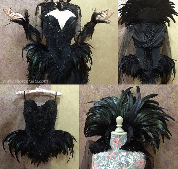 Witch Crow Feathers Overbust Corset ~ Gothic Hip Fins Haute Goth Dress ~ Vampire Wedding Ball Masquerade Costume ~ Halloween Outfit Corsetry