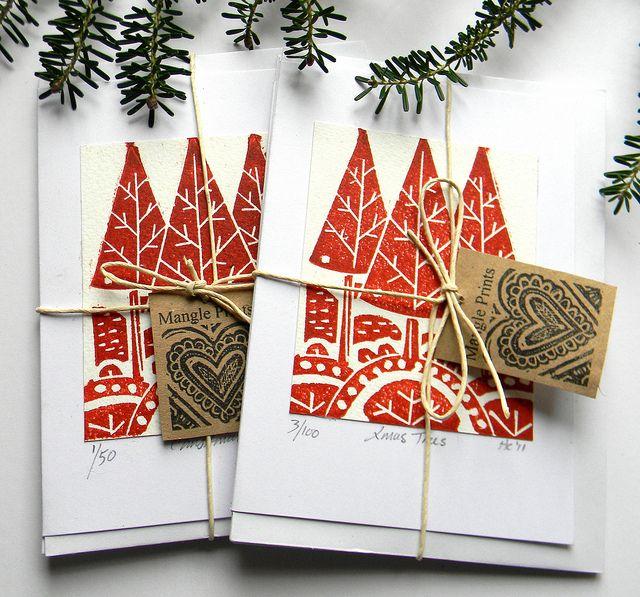 Lino Print Christmas Cards by Mangle Prints, via Flickr