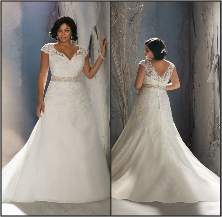 Plus Size Wedding Dresses Stunning Beading Lace A Line