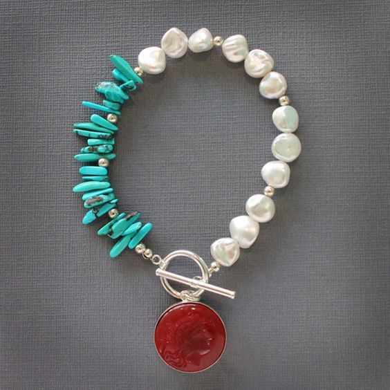 Charleston Turquoise and Freshwater Pearl Bracelet: