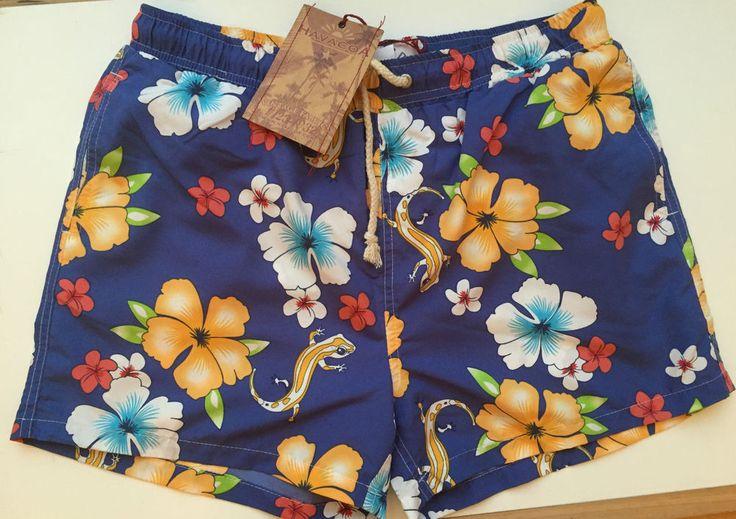 Mens Havacoa Swim Shorts Surf  Blue Floral/Reptile Large L  Authentic New RRP£89