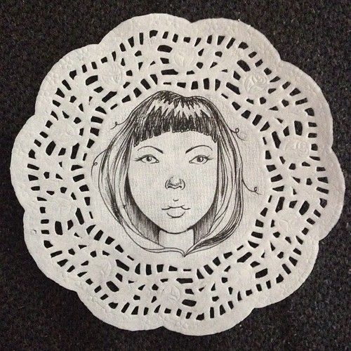 Doodle on paper doily