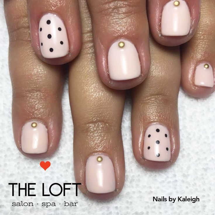 Pretty pale pink manicure with polka dots and gold accents by Kaleigh at The Loft in Winnipeg.