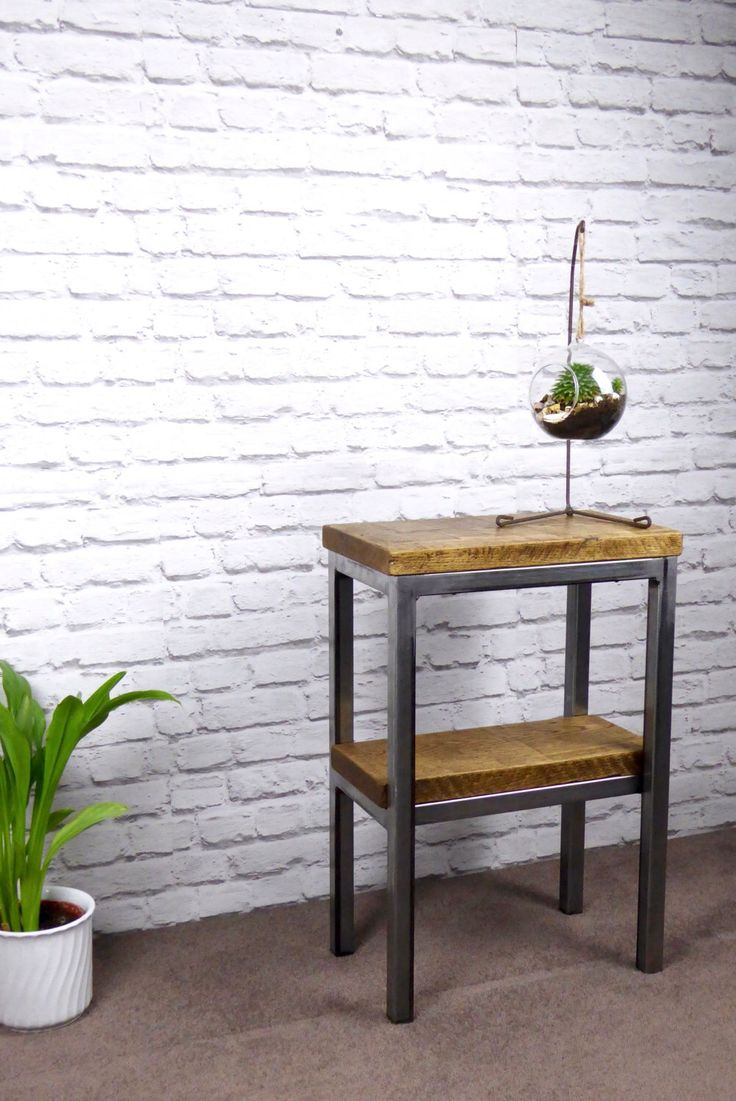 Harkavy furniture focuses on modern pieces made of wood and steel - Reclaimed Oak Side Table With Double Shelf And Industrial Raw Steel Frame End Table Side Table Rustic Industrial Chic