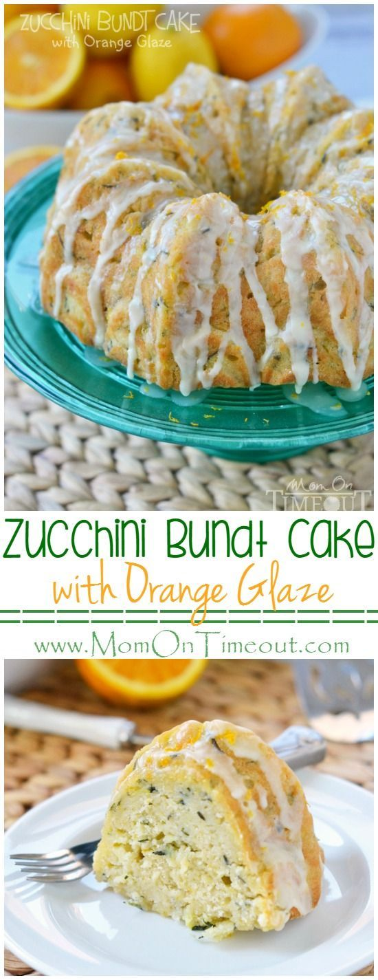 This perfectly moist Zucchini Bundt Cake with Orange Glaze will make a beautiful addition to any meal! This easy dessert recipe is a great way to use up extra zucchini from the garden too!| MomOnTimeout.com