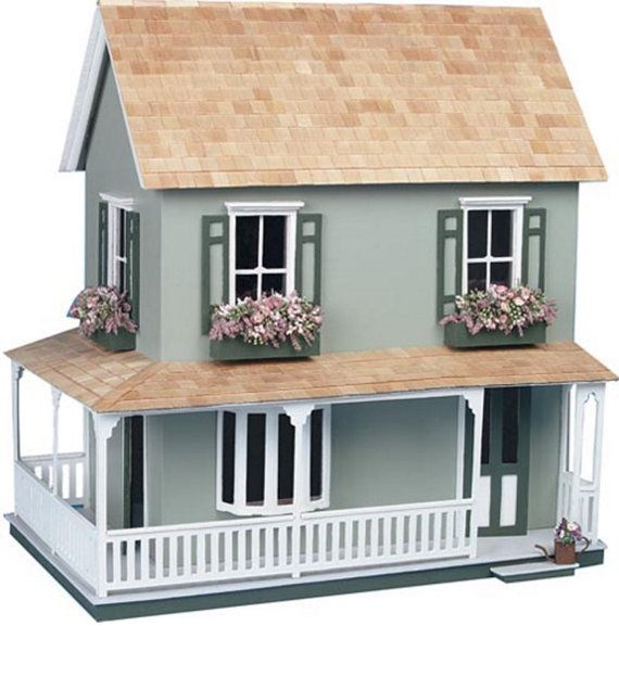 This charming dollhouse was designed for easy assembly, without nails or screws. It features four large rooms, full attic, three window boxes, and