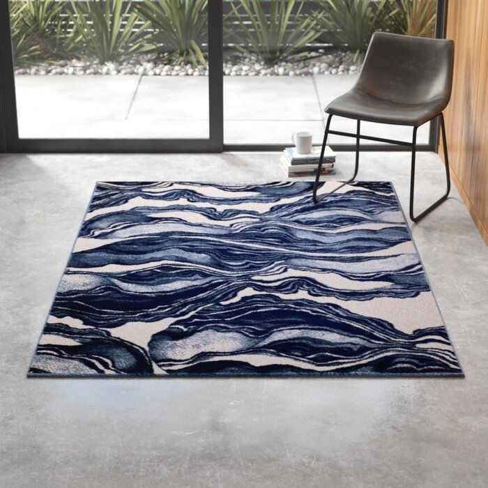 Cretys Abstract Navy Blue White Area Rug White Area Rug Area