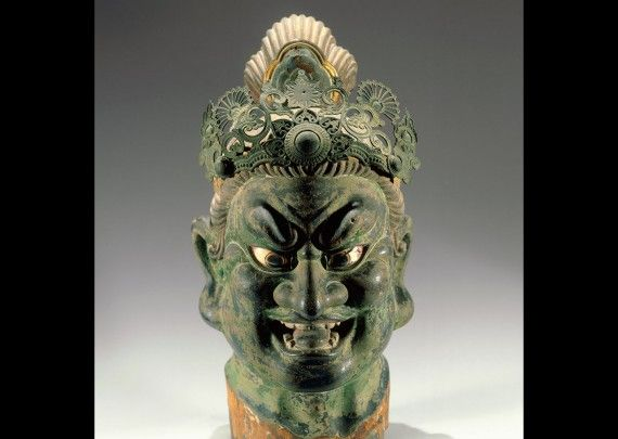 Head of a Guardian King. Kamakura period, 13th century. Polychromed Japanese cypress