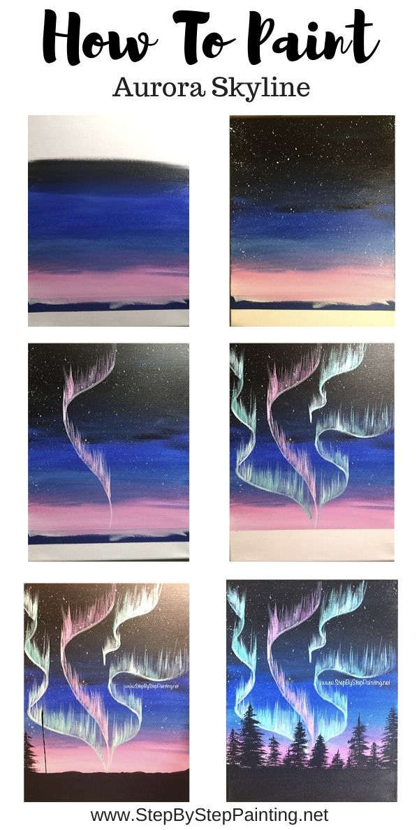 How To Paint Northern Lights Step By Painting Diy Art Small Canvas