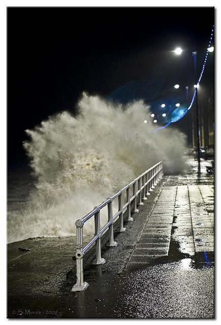 Crashing Waves at Y Prom, Aberystwyth Wales UK