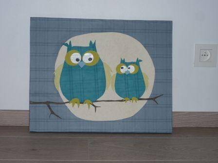 schilderij'tje met uiltjes uit behangpapier