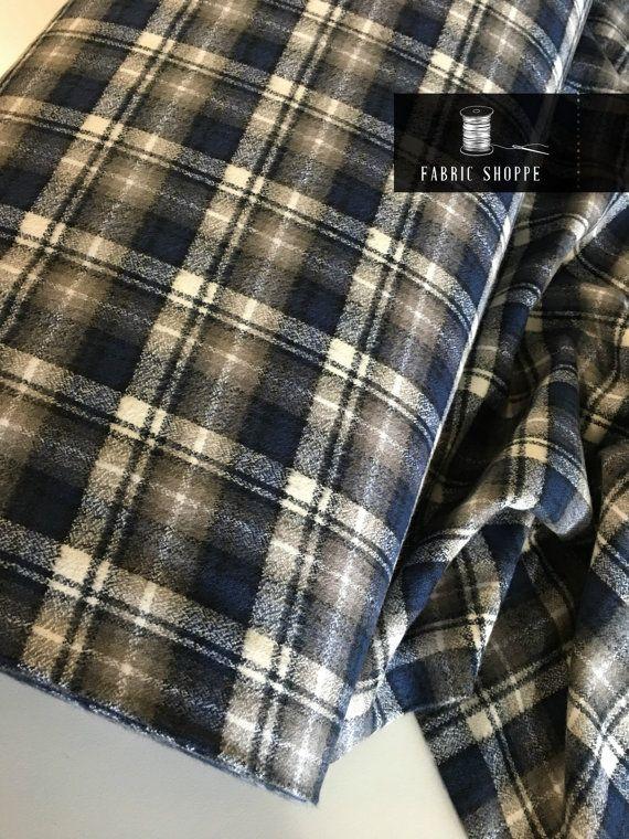 Soft Flannel fabric Mammoth Plaid Flannel Blue Plaid