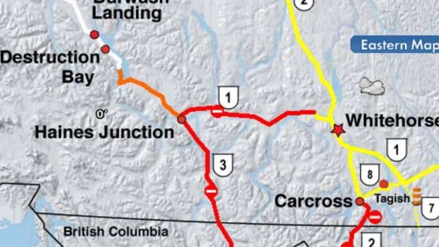 Yukon 511, the territory's road conditions webpage shows current highway closures in red in southwest Yukon, including the Alaska Highway section from Mendenhall just west of Whitehorse to Haines Junction.