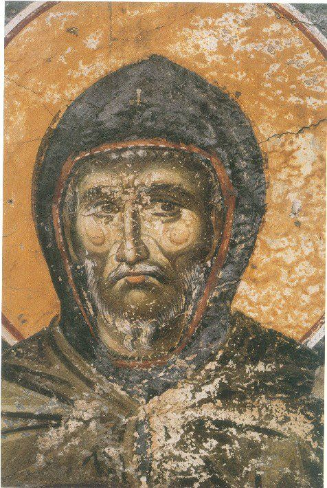 St Ephraim the Syrian Fresco from the Church of the Protaton Karyes, Mount Athos by the hand of Manual Panselinos (late 13th century)