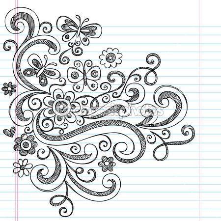 Disegnati a mano torna a elementi di design di scuola stile scarabocchi disegnati a mano con fiori, farfalle e vortici. illustrazione vettoriale su carta notebook