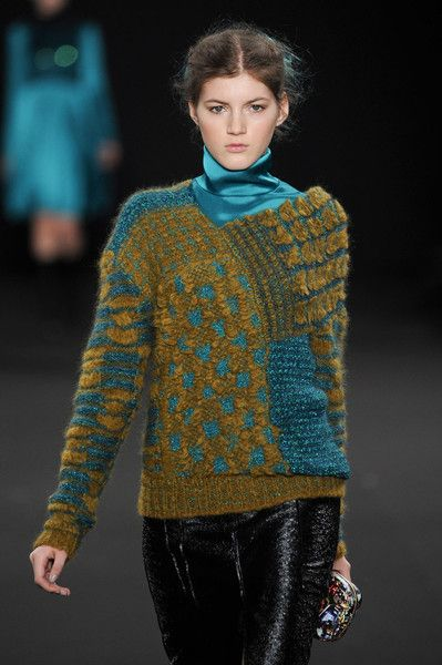 Vanessa Bruno - variety of stitch patterns and textured yarns used in a patchwork design