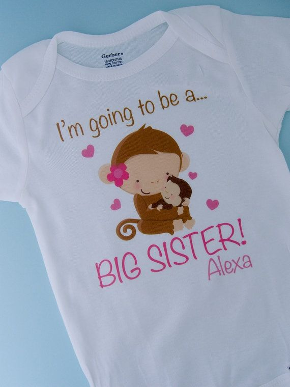 Big Sister Shirt - Big Sister Gift - Big Sister Announcement Shirt - Big Sister Outfit - I'm Going to Be A Big Sister - Monkey 01062012b