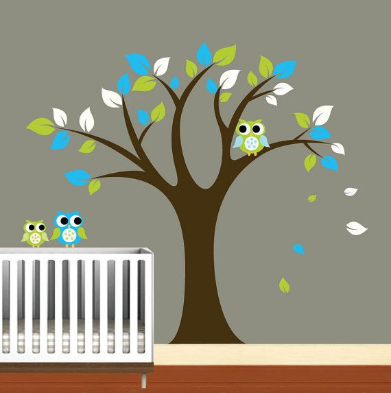 LOVE THIS tree, and the cute owls!!!! i want this for my baby!!!!: Nurseries Birds, Trees Decals Nurseries, Vinyl Wall Art, Vinyls Wall Decals, Baby Rooms, Art Trees, Boys Vinyls, Baby Stuff, Vinyls Wall Art