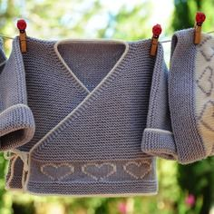 Layette ensemble cœur mérinos 1-3 mois neuf tricoté main brassière bonnet et…