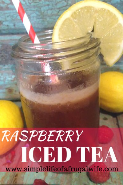 raspberry iced tea, a perfect beverages for the Summer months.  Make it with sugar or honey depending on your preference!