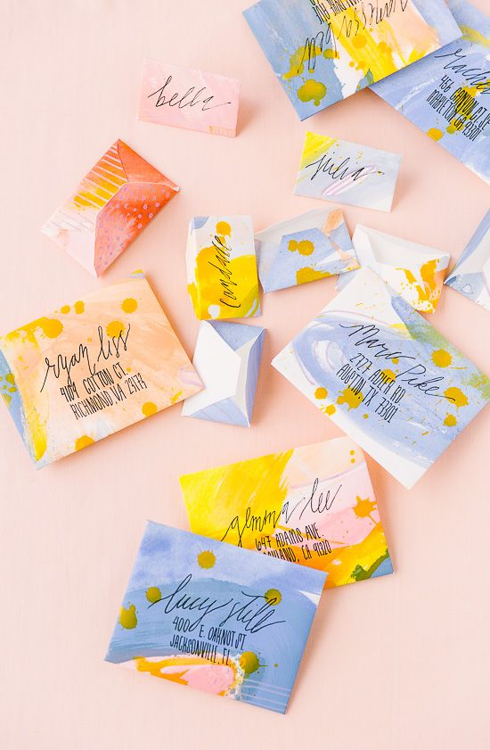 Painted DIY Envelopes in Abstract Patterns