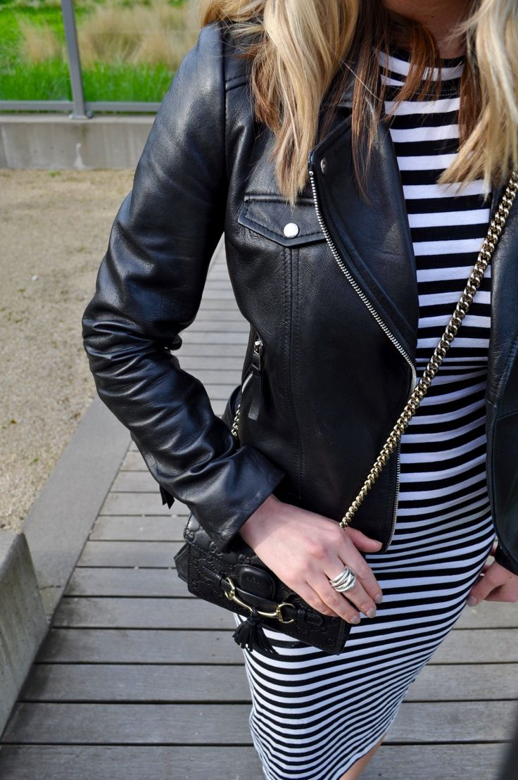 Details: Stripes and leather and David Yurman ring. (Via Confessions of a Product Junkie blog.)