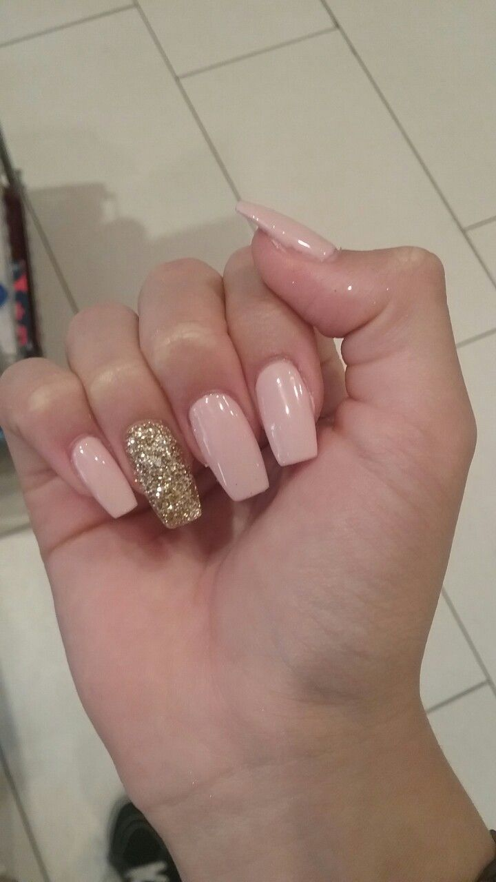 Pink And Gold Glitter Acrylic Nails