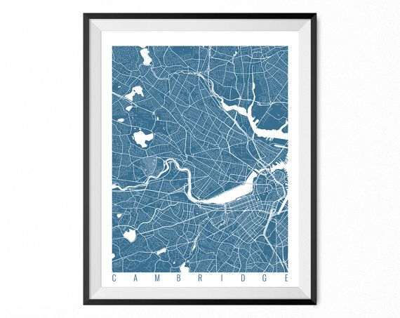 Cambridge Map Art Print / Cambridge City Poster / Cambridge Wall Art / Massachusetts/ Gift / Massachusetts home decor