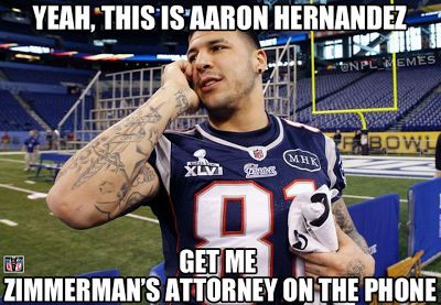 Political Meme's: Aaron Hernandez Reacts To The Zimmerman Verdict