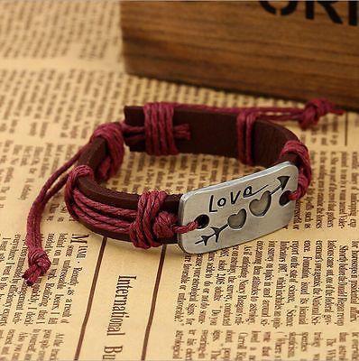 Мода унисекс регулируемый металлический любовник кожаный браслет манжеты браслеты ювелирные изделия