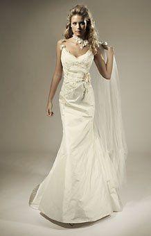 Garamaj 'Blondie' silk sample mermaid dress with lace detail & straps, low back.