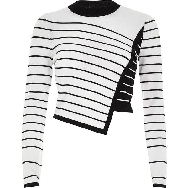 River Island White asymmetric stripe panel knit sweater ($72) ❤ liked on Polyvore featuring tops, sweaters, knitted tops, knitwear, white, women, stripe sweaters, crew-neck sweaters, white cropped sweater and striped sweater