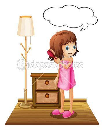 Λήψη - Εικονογράφηση ενός κοριτσιού χτενίζει τα μαλλιά με ένα άδειο επεξήγηση με πρότυπο σε λευκό φόντο — Αρχείο Εικονογράφησης #51678373