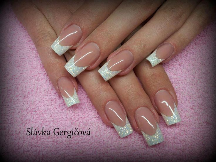 Pink and Glittery white nail design.  Too long but I like the style.