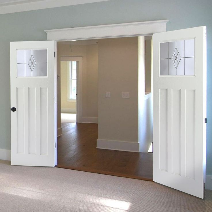 Edwardian Internal PVC Door Pair with Clear Diamond Cluster Glass, no more painting. #whitedoorpair #internaldoors #edwardiandoors