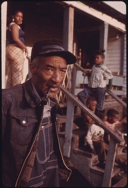 """Retired Coal Miner Ed Austin with Some of His 20 Children in Fireco, West Virginia, near Beckley. The 64-Year-Old Worked in the Mines From 1925 to 1956. He Receives Black Lung Payments and a United Mine Workers Pension"" Taken 04/1974    Love this photo! My grandpa was a coal miner and he lived in Fireco, WV for a while."