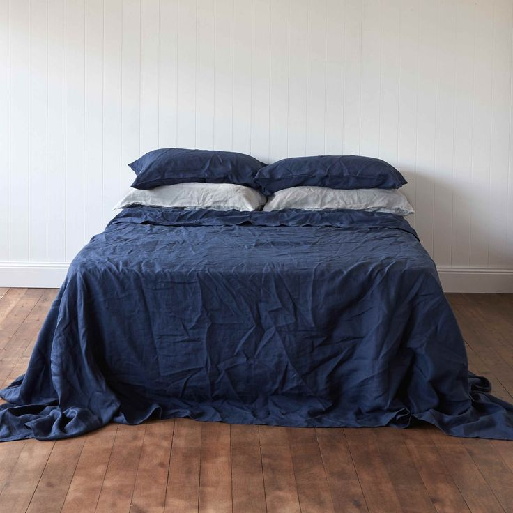 Atlantic Navy Pure Linen Flat Sheet by Montauk Style