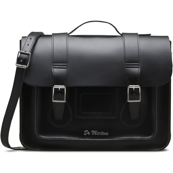 "Dr. Martens 15"" Leather Satchel ($200) ❤ liked on Polyvore featuring bags, handbags, black, black handbags, genuine leather purse, black leather handbags, satchel handbags and handbag satchel"
