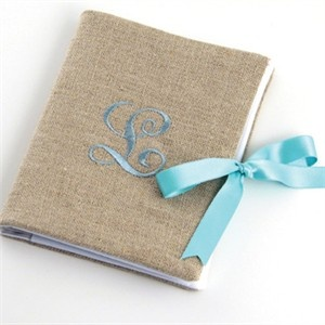 Linen Photo Album with Embroidered Initial