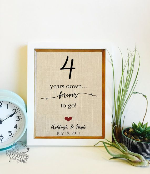 SALE 4 Year Anniversary Gift | Linen Anniversary | 4th Anniversary Gift for Husband Wife | Years Together Linen Print | Frame not included