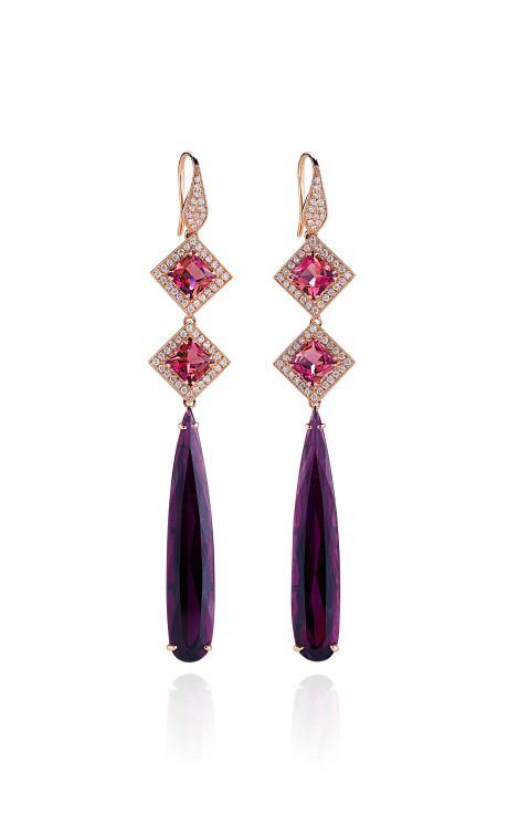 Tourmaline And Diamonds Earrings In Rose Gold by Dana Rebecca