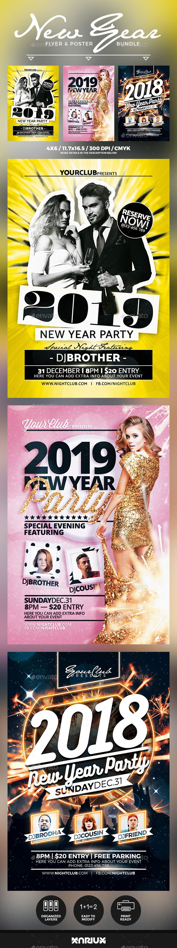 #New Year #Flyer & Poster Bundle - Events Flyers