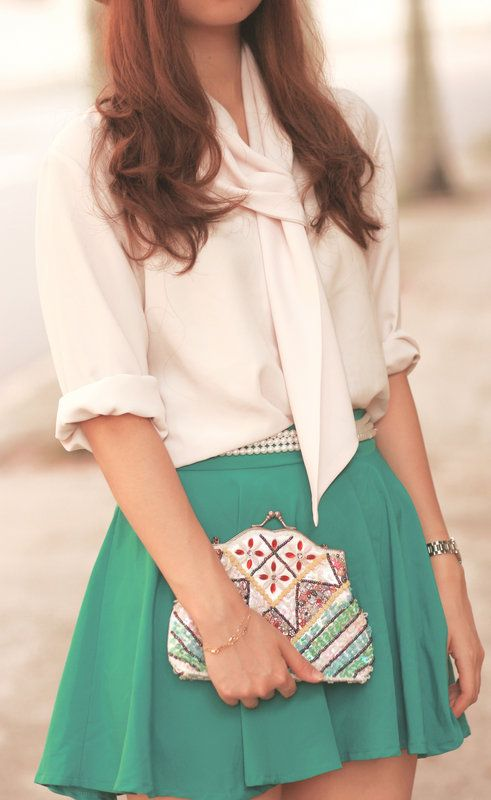 work: Green Skirts, Outfits, Colors Combos, Shirts, Pearls, Clutches, Than, White Blouses, Belts