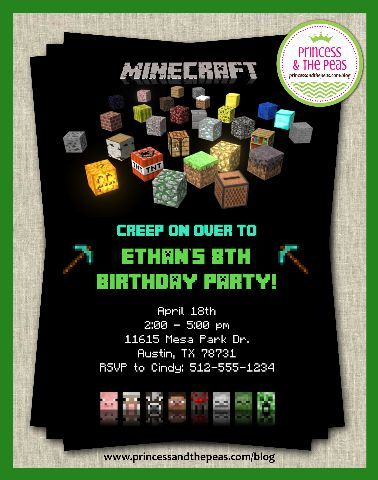 If You Build It, They Will Come! A Minecraft Party That's Easy & Fun! | Minecraft Party | Minecraft Party Ideas | Minecraft Invitations | Minecraft Personalized Invitations | Custom Minecraft Invitations | www.princessandthepeas.com