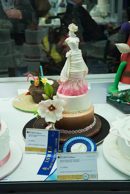 Wedding cake , 1 st prize Melbourne show 2014 - wedding cake novice level